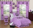 Groovy Tie Dye Peace Sign Purple Bedding - 3 Piece Full/Queen Set