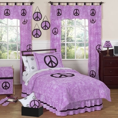 Groovy Tie Dye Peace Sign Purple Bedding - 4 Piece Twin Set