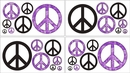 Groovy Tie Dye Peace Sign Purple Wall Decals by Sweet Jojo Designs