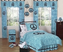 Groovy Tie Dye Peace Sign Turquoise Bedding Blue - 4 Piece Twin Set