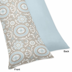 Hayden Blue and Taupe Body Pillow Cover