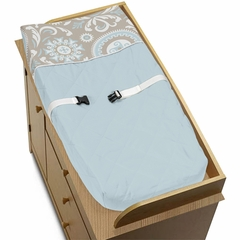 Hayden Blue and Taupe Changing Pad Cover by Sweet Jojo Designs