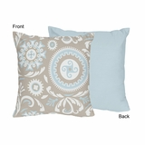 Hayden Blue and Taupe Decorative Accent Throw Pillow