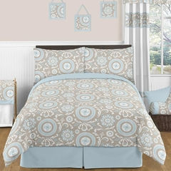 Hayden Blue and Taupe Full/Queen Bedding by Sweet Jojo Designs
