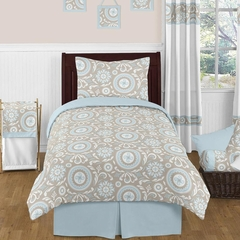 Hayden Blue and Taupe Twin Bedding 4 Pc Set by Sweet Jojo Designs