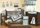 Hotel Blue Modern Baby Bedding - 9 Piece Crib Set