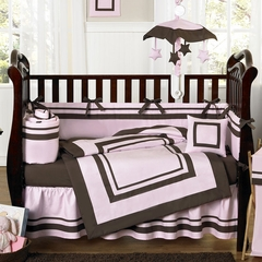 Hotel Pink and Brown Modern Baby Bedding - 9 Piece Crib Set