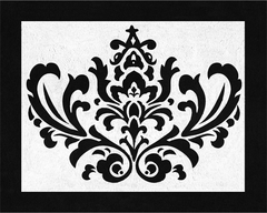 Isabella Black and White Damask Accent Floor Rug by Sweet Jojo Designs