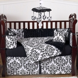 Isabella Black and White Damask Baby Bedding - 9 Piece Crib Set