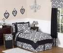 Isabella Black and White Damask Bedding 3 Pc Full/Queen Bedding Set