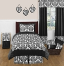 Isabella Black and White Damask Bedding - Kids or Teen Twin 4 Pc Set