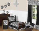 Isabella Black and White Damask Bedding - Toddler Bedding Set
