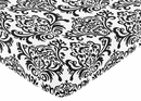 Isabella Black and White Damask Collection Crib Sheet - Damask Print