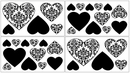 Isabella Black and White Damask Heart Wall Decals