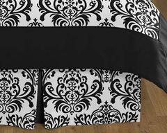 Isabella Black and White Damask Queen Bed Skirt by Sweet Jojo Designs
