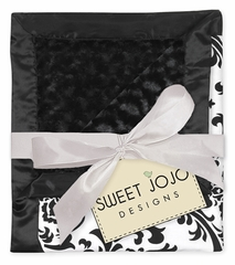 Isabella Black and White Damask, Satin and Minky Baby Blanket