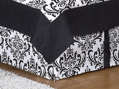 Isabella Black and White Damask Toddler Bed Skirt