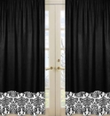 Isabella Black with Black and White Damask Window Panel Curtains
