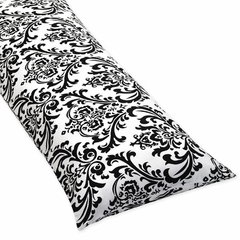 Isabella Hot Pink, Black and White Damask Collection Body Pillow Cover