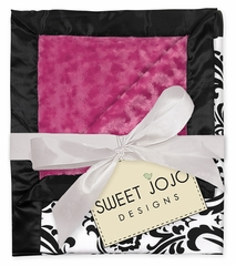Isabella Hot Pink, Black and White Damask, Satin & Minky Baby Blanket