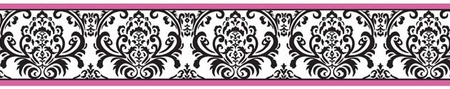 Isabella Hot Pink Black and White Damask Wallpaper Border