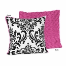 Isabella Hot Pink, Black & White Damask and Chenille Throw Pillow