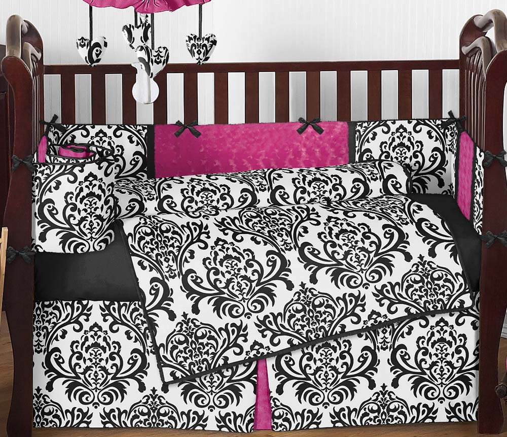 Black and white damask bedding queen - Isabella Hot Pink Black White Damask Baby Bedding 9 Piece Crib Set