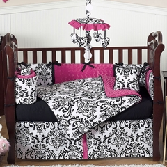 Isabella Hot Pink, Black & White Damask Baby Bedding 9 Piece Crib Set