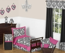 Isabella Hot Pink, Black & White Damask Bedding - Toddler Bedding Set