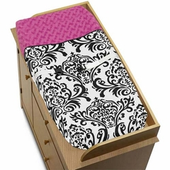 Isabella Hot Pink, Black & White Damask Changing Pad Cover