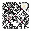 Isabella Hot Pink, Black & White Damask Fabric Memo Board