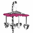 Isabella Hot Pink, Black & White Damask Musical Mobile