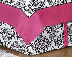 Isabella Hot Pink, Black & White Damask Queen Bed Skirt
