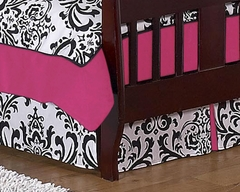 Isabella Hot Pink, Black & White Damask Toddler Bed Skirt