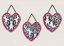 Isabella Hot Pink, Black & White Damask Wall Hangings