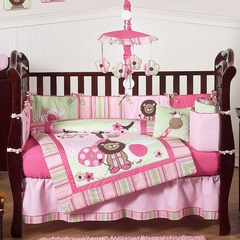 Jungle Friends Girls Pink and Green Baby Bedding - 9 Pc Crib Set