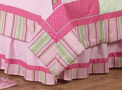 Jungle Friends Girls Pink and Green Collection Queen Bed Skirt