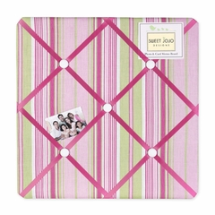 Jungle Friends Pink and Green Stripe Print Fabric Memo Board