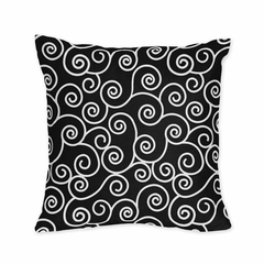 Kaylee Black and White Scroll Print Decorative Accent Throw Pillow