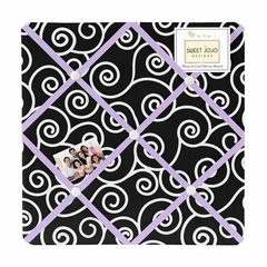 Kaylee Purple Black and White Scroll Print Fabric Memo Board