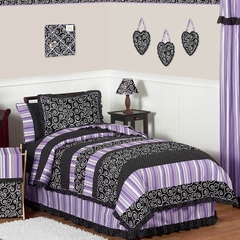 Kaylee Purple & Black Girls Bedding 4 Pc Twin Set - Sweet Jojo Designs