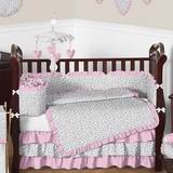 Kenya Pink and Gray Animal Print Baby Bedding 9 Pc Crib Set