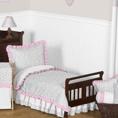 Kenya Pink and Gray Animal Print Toddler Bedding Set