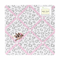 Kenya Pink and Gray Cheetah Fabric Memo Board