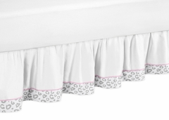 Kenya Pink and Gray Cheetah Queen Bed Skirt