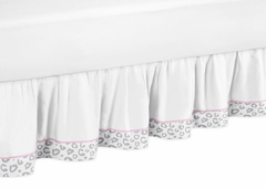 Kenya Pink and Gray Cheetah Toddler Bed Skirt