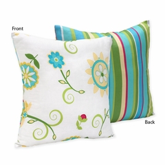 Layla Floral Print and Stripes Accent Throw Pillow