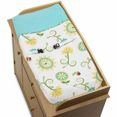 Layla Modern Flower Turquoise and Lime Changing Pad Cover