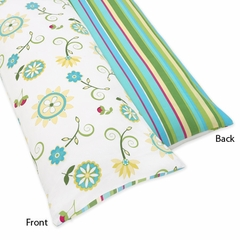 Layla Modern Flower Turquoise and Lime Full Length Body Pillow Cover