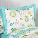 Layla Modern Flower Turquoise and Lime Pillow Sham Sweet Jojo Designs